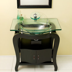 """Fresca - Fresca Grazioso 31"""" Espresso Modern Single Sink Vanity Set w/ Mirror - Handsome espresso finish brings this ensemble together underneath a glass counter. This gently rounded four legged vanity has a slight classical feel for a modern contemporary home looking to update their style. Two door storage underneath and a clear glass basin accented with chrome makes this ensemble great for a smaller yet classy space. Many faucet styles to choose from. Optional side cabinets are available."""