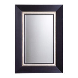 Uttermost - Uttermost 14153 30-Inch by 40-Inch Whitmore Vanity Mirror - This wood frame has a matte black finish with an antiqued silver leaf inner liner accented with a gray glaze. Mirror is beveled.