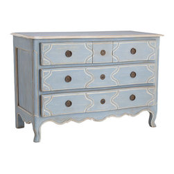Louis XV Three Drawer Chest - Exhibiting the fine cabinetwork that was of utmost importance during Louis XV's reign, this handsome, solid wood chest offers the curves and panels that were popular during the early 18th century. We just gave it a more updated, aesthetic appearance with a light blue finish and three spacious drawers so it will easily adapt to your needs.