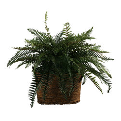 "D&W Silks - Artificial River Fern Bush in Norwick Dark Brown Oval Basket With Handles - It's amazing how much adding a plant can change the look of a room or decor, but it can be difficult if your space is not conducive to growing plants, or if you weren't exactly born with a ""green thumb."" Invite the beauty of nature into your home without all the upkeep with this maintenance-free, allergy-free arrangement of artificial river fern bush in a norwick dark brown oval basket with handles. This is not a living plant."