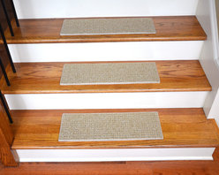 """Dean Flooring Company - Dean Indoor/Outdoor Pet Friendly Non-Slip Carpet Stair Treads - Seashore 15 - Quality stylish indoor/outdoor carpet stair treads by Dean Flooring Company. Extend the life of your high traffic hardwood stairs. Reduce slips/increase traction. Cut down on track-in dirt. Great for pets and pet owners. Made in the USA from quality, long lasting stain resistant Hi UV fade resistant polypropylene carpeting with non-slip padded foam backing. Stands up great to high traffic. A fresh new look for your staircase. Do-it-yourself installation is quick and easy with our unique non-slip backing. Simply place your stair tread rugs on your staircase and go.  No tapes, adhesives, staples, glue, or Velcro needed.  And rest assured, they won't move and they won't damage your hardwood either.  They are also simple and easy to remove as well with no sticky residue left behind.  Each tread is bound with color matching binding tape.  No bulky fastening strips. You may remove your treads for cleaning and re-attach them when you are done. This set includes 15 pieces.  Each tread measures approximate 23"""" x 8"""".  Add a touch of warmth and style to your stairs today with new stair treads from Dean Flooring Company!  We make our own stair treads at Dean Flooring Company and our products are not available from anyone else."""