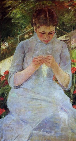 """Mary Cassatt Young Woman Sewing in a Garden - 16"""" x 24"""" Premium Archival Print - 16"""" x 24"""" Mary Cassatt Young Woman Sewing in a Garden premium archival print reproduced to meet museum quality standards. Our museum quality archival prints are produced using high-precision print technology for a more accurate reproduction printed on high quality, heavyweight matte presentation paper with fade-resistant, archival inks. Our progressive business model allows us to offer works of art to you at the best wholesale pricing, significantly less than art gallery prices, affordable to all. This line of artwork is produced with extra white border space (if you choose to have it framed, for your framer to work with to frame properly or utilize a larger mat and/or frame).  We present a comprehensive collection of exceptional art reproductions byMary Cassatt."""