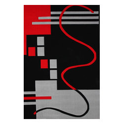Rug - ~5 ft. x 8 ft. Geometric Black with Red Living Room Area Rug, Machine Made - Living Room Hand-tufted Shaggy Area Rug