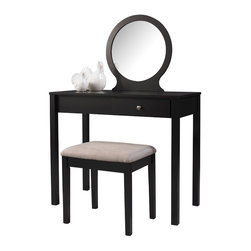 Linon - Linon Scarlett Black Wood Vanity - The Scarlett Vanity Set is perfect for the modern and contemporary styled home. An off center drawer provides ample hidden storage space while the spacious top is ideal for displaying your favorite products.