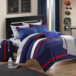 Chic - Chic Home Trevor Printed Colorblock Dorm Room Bedding Set - Bring a color boost to your dorm room decorations with this on-trend bedding,complete with grey and white plaid sheets. Crafted with soft,machine washable microfiber,this comfortable bedding features a blue,red and white colorblock design.