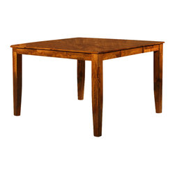 Steve Silver Co. - Mango Solid Wood Counter Height Table w Leaf - Includes table & butterfly leaf. 18 in. butterfly leaf. Light Oak finish. Transitional style. Corner block construction. Tongue and groove joints. Select hardwood solids material. Some assembly required. Solid wood construction. Expands to 54 in. L. 36 in. L x 54 in. W x 36 in. H (141 lbs.)