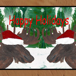 usa - Santa Moose Rug, 36x60 - Durable 20 0z. tight loop carpet with non skid rubber backing and a black edge binding. My art images are permanently applied by dye sublimation and wash with mild soap and water. Rugs are approx. 3/8 inch thick.