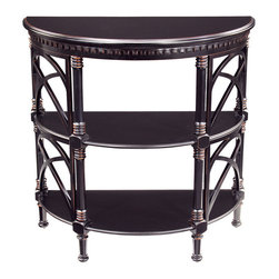 Sterling Industries - Sterling Industries 6041256 Cheval Demilune Console - Part Of The Tamara Collection, This Hall Table Is Gracefully Curved With A Removeable Serving Tray.  This Piece Features Two Drawers, Two Shelves, And Can Function As A Hall, Serving, Or Bar Table.  Console Table (1)