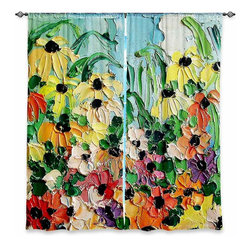 "DiaNoche Designs - Window Curtains Lined by Aja-Ann Wildflowers II - Purchasing window curtains just got easier and better! Create a designer look to any of your living spaces with our decorative and unique ""Lined Window Curtains."" Perfect for the living room, dining room or bedroom, these artistic curtains are an easy and inexpensive way to add color and style when decorating your home.  This is a woven poly material that filters outside light and creates a privacy barrier.  Each package includes two easy-to-hang, 3 inch diameter pole-pocket curtain panels.  The width listed is the total measurement of the two panels.  Curtain rod sold separately. Easy care, machine wash cold, tumble dry low, iron low if needed.  Printed in the USA."