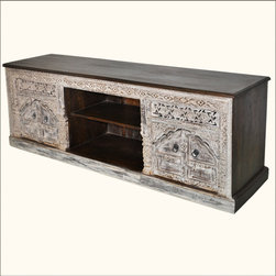 Frosted Palace Tropical Hardwood Hand Carved Media Center -