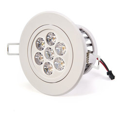 7 Watt LED Recessed Light Fixture - Aimable and Dimmable - Recessed Downlight with 7 x 1 Watt High Power LEDs. 95~140V AC operation. Natural White - 4000K @ 500 lumen. Warm White - 3000K @ 500 lumen. Available in medium spot 45 degree beam angle. White ABS housing with integral heatsink and polycarbonate lenses. Flush mounts in 3.74 inch hole with spring retaining clips. Pivots +/-30 degrees on one axis. Easily removed from flush mount bracket. Constant current dimmable driver included.