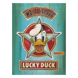 Disney Fine Art - Disney Fine Art Lucky Duck Lot1 by Trevor Carlton - Gallery Wrapped Giclee - Luck Duck Lot1 by Disney Fine Art  -  Limited To 23 Pieces World Wide  -  Size: 32 x 24 Inches  -  Medium: Giclee on Hand-Painted Mixed Media Canvas  -  Hand Signed By The Artist: Trevor Carlton  -  Produced by Collector's Editions  -  Fully Authorized Disney Fine Art Dealer  -  Gallery Wrapped  -  Ready To Be Hung  -  Can Be Framed Later If Desired  -  Featuring Donald Duck And Daisey