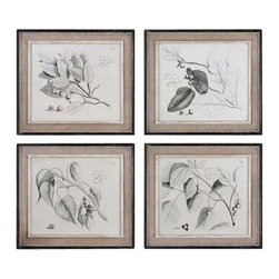 Uttermost Sepia Leaf Study Wall Art, Set/4 - Inner lip and liner of each frame has a medium wood tone base with a heavily distressed, painted white finish topped off with a gray and taupe glaze. These oil reproductions feature a hand applied brushstroke finish. Artwork is accented by light tan burlap mats and heavily distressed black frames with a gray and taupe wash. The inner lip and liner of each frame has a medium wood tone base with a heavily distressed, painted white finish topped off with a gray and taupe glaze.