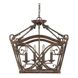 Capital Lighting - Capital Lighting Reserve Traditional Pendant Light X-TR1639 - A beautiful, intricately designed pendant light such as this would be a perfect fit in any traditional home decor. The rustic finish perfectly complements the antique-like appearance, and four lights shine out with a brilliant quality of ambient light. (Bulbs not included.)