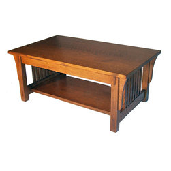Mission Coffee Table - Quarter sawn Oak, features wedged through tenon construction. Custom sizes available.