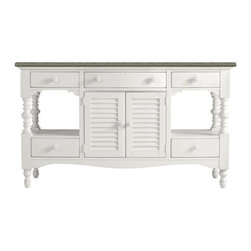 Stanley - Coastal Living Retreat Buffet, Saltbox White - Oversized without being over scaled, this showstopper is destined to become a contemporary classic. Louvered center doors hide a multitude of sins courtesy of an adjustable shelf. Center drawer conceals a silver liner.