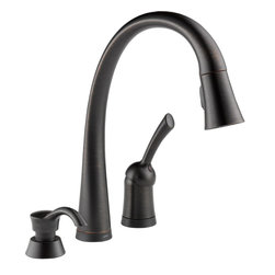 Delta - Delta 980T-RBSD-DST Pilar 1-Hand Kitchen Faucet, Soap Dispenser, Venetian Bronze - With it's condensed, smooth design and modern style, the Pilar series brings a graceful feel to any room in your home.