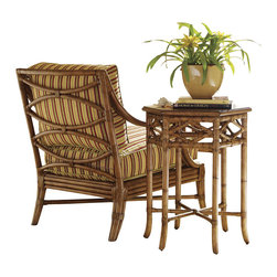 Tommy Bahama Home - Tommy Bahama Home Beach House Coral Springs Accent Table in Golden Umber - Tommy Bahama Home - Accent Tables - 010540954 - Diamond inspired leather wrapped rattan and cross stretchers create an interesting end table that boasts six sides.