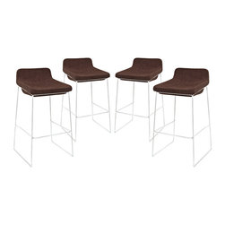 Modway - Garner Bar Stool Set of 4 EEI-1365 Brown - Benefit from the comfort of a lounge chair in this barstool made to please. Garner features a chrome plated aluminum frame and generously padded foam seat with upholstered fabric to keep you coming back for more. The deep-seated design and supportive backrest make this a modern piece that both looks and feels great. Garner also comes with a well-positioned footrest to help prevent slouching.