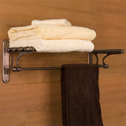 Solid Bronze Towel Rack - Perfect for storing items in a bath, linen closet or hallway, this handsome towel rack features ball-tipped ends and a lower bar. Made of solid bronze.
