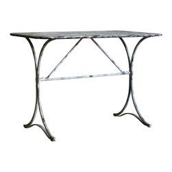 Eloquence - French Country Weathered Grey Wrought Iron Bistro Dining Table Desk - Plunge yourself into Provence every time you sit at this unaffected bistro table. The sensual curve of the table's legs will transport you while the patina of the wrought iron will bring you into the now. Dine in style with this incredibly chic table.