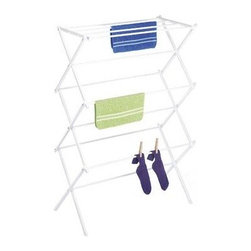 Whitmor - Folding Drying Rack White - Dry all your clothes with the Whitmor white foldable drying rack and save on your energy costs. This drying rack has an accordion design letting you open it up easily and set it up anywhere. When done simply fold it away when not in use. The laundry hanger folds so flatly it can be placed in a closet or even behind the washer or dryer. It features eleven epoxy coated steel bars that provide plenty of drying space. This foldable drying rack is painted white to reduce stain absorption odors and mildew. This space saving drying rack can hold up to 40 pounds of clothes at one time.