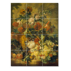 Picture-Tiles, LLC - Van Flowers And Fruit Tile Mural By Jan Huysum - * MURAL SIZE: 32x24 inch tile mural using (12) 8x8 ceramic tiles-satin finish.