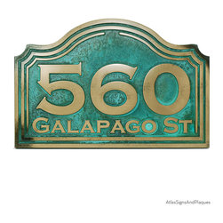 """Classic Arch Address Plaque 15"""" x 10"""" in Bronze Verdi - A Classic Arch Shape Address Plaque. Each of the 3 numbers held by the 15"""" by 10"""" in plaque are a whopping 3.7 inches high."""
