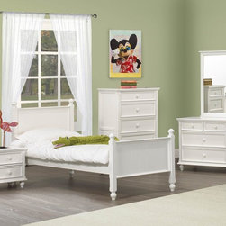 Homelegance - Homelegance Whimsy 5 Piece Kids' Panel Bedroom Set in White - Today your little girl loves purple tomorrow white or maybe green or was it yellow? The Whimsy Collection offers her the option to customize her room to reflect those fantastic whims of youth. Each front drawer panels of the case pieces can be flipped to reveal a different color floral motif. The cottage style collection features cases goods that have been scaled to fit into your child s world. - 2001-PB-5-SET.  Product features: Cottage style; Four Poster Bed; White Finish; Available in Twin and Full sizes. Product includes: Panel Bed (1); Nightstand (1); Chest (1); Dresser (1); Mirror (1). 5 Piece Kids' Panel Bedroom Set in White belongs to Whimsy Collection by Homelegance.