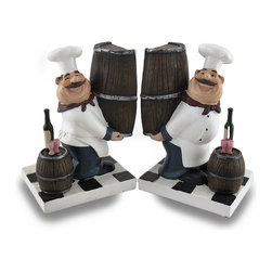 Zeckos - Wine Loving Fat Chef Decorative Bookends Hand Painted - These adorable fat chef bookends are perfect for holding cookbooks in your kitchen. Each bookend features a slightly tipsy chef, with a big grin on his face, carry none end of a barrel of wine. A wine bottle and wine glasses sit on a barrel in front of him. Each bookend measures 6 1/2 inches tall, 4 1/2 inches long a 3 5/8 inches wide. They are hand-painted, and have great detail.