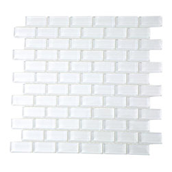 "Loft Super White Polished Glass Tiles - Loft Super White Polished 1x2 Glass Tile These beautiful mosaics in polished super white is a stunning design. These tiles are mesh mounted and will bring a sleek and contemporary design to any room. The mesh backing not only simplifies installation, it also allows the tiles to be separated which adds to their design flexibility. Chip Size: 1""x2"" Color: White - our bright white Material: Glass Finish: Polished Sold by the Sheet - each sheet measures 12"" x 12"" (1 sq. ft.) Thickness: 5mm Please note each lot will vary from the next."