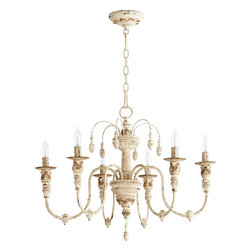 Quorum Lighting - Quorum Lighting Salento Traditional Chandelier X-07-6-6136 - The wide frame of this Quorum Lighting chandelier helps to create an extravagant and elegant feel in any room. The frame of this traditional chandelier includes a variety of classic elements: candelabra lights, simple bobeches, hanging finials and intricate carved detailing. Persian White finishing adds an aged elegance.