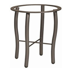 Woodard - Woodard Tribeca Aluminum End Table Base - The name Woodard Furniture has been synonymous with fine outdoor and patio furniture since the 1930s continuing the company�s furniture craftsmanship dating back over 140 years. Woodard began producing hand-made wrought iron furniture which led the company into cast and tubular aluminum furniture production over the years.� Most recently Woodard patio furniture launched its entry into the all-weather wicker furniture market with All Seasons which is expertly crafted and woven using synthetic wicker supported by an aluminum frame.� The company is widely known for durable beautiful designs that provide attractive and comfortable outdoor living environments.� Its hand-crafted technique used to create the intricate design patterns on its wrought iron furniture have been handed down from generation to generation -- a hallmark of quality unmatched in the furniture industry today. With deep seating slings and metal seating options in a variety of styles Woodard Furniture offers the designs you want with the quality you expect.  Woodard aluminum furniture is distinguished by the purest aluminum used in the manufacturing process resulting in an extremely strong durable product which still can be formed into flowing shapes and forms.� The company prides itself on the fusion of durability and beauty in its aluminum furniture offerings. Finishes on Woodard outdoor furniture items are attuned to traditional and modern design sensibilities. Nineteen standard frame finishes and nineteen premium finishes combined with more than 150 fabric options give consumers countless options to design their own dream outdoor space. Woodard is also the exclusive manufacturer of outdoor furnishings designed by Joe Ruggiero home decor TV personality.� The Ruggiero line includes wrought iron aluminum and all weather wicker designs possessing a modern aesthetic and fashion-forward styling inspired by traditional Woodard patio furniture designs. Rounding out Woodard�s offerings is a line of distinctive umbrellas umbrella bases and outdoor accessories.� These offerings are an integral part of creating a complete outdoor living environment and include outdoor lighting and wall mounted or free standing architectural elements � all made with Woodard�s unstinting attention to detail and all weather durability. Woodard outdoor furniture is an American company headquartered in Coppell Texas with a manufacturing facility in Owosso Michigan.� Its brands are known under the names of Woodard Woodard Landgrave and Woodard Lyon Shaw. With a variety of collections Woodard produces a wide array of collections that will be sure to suit any taste ranging from traditional to contemporary and add comfort and style to any outdoor living space. With designs materials and construction that far surpass the industry standards Woodard Patio Furniture creates beauty and durability that is unparalleled.