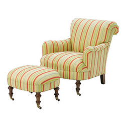 789 Chair and Ottoman by Wesley Hall - I love the way this traditional style chair is brought to life by vibrant stripes. It's comfortable, stylish and elegant.
