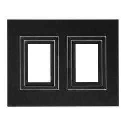 """Exposures - Perfect Frame Set of 3 Double Rectangle Opening Mats - Overview Show off two photos in each frame with these extra mats for The Perfect Frame. 11"""" x 14"""" mat has three removable mats to display double 3 1/2"""" x 5"""", 4"""" x 6"""" or 5"""" x 7"""" photos. Available in either black or white."""