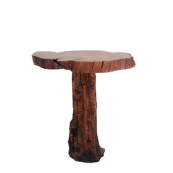 "Crafted Woods - Ancient Bristlecone Pine ""Mushroom #1"" Table Rustic Log - This wonderful accent table is part of our ""Mushroom Table"" collection. This collection is made up of slabs cut from two different half burned Bristlecone logs and a variety of hand picked bases. This color only comes from years of extreme mountain weather in the high Rocky Mountains."