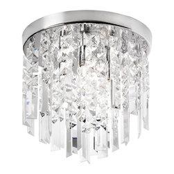 Dainolite - Dainolite 3LT Crystal Flush Mount Fixture - 3 Light Crystal Flush Mount Fixture, Polished Chrome