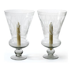 Go Home - Pair Of Glass Maison Hurricanes - Gorgeous Maison Hurricanes is an amazing addtion to your home decor. These hurricanes/candle holders will continue to give you pleasure through out the year.It is crafted with glass and has hand etched finish.Sold as a Pair.