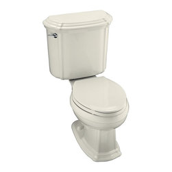 KOHLER - KOHLER K-3591-96 Portrait Elongated Toilet with Left-Hand Trip Lever, Less Seat - KOHLER K-3591-96 Portrait Elongated Toilet with Left-Hand Trip Lever, Less Seat in BiscuitWith sculpted lines and soft edges, this Portrait two-piece toilet offers the complete performance of the Ingenium(R) flushing system and integrates with the Portrait Suite to carry the understated elegance of French Provincial design throughout the room. It is available in a palette of KOHLER colors and Artist Editions designs to complement any decor. Please see our Delivery Notes for Freight Shipments for products that are oversized and/or are too heavy to ship UPS ground. KOHLER K-3591-96 Portrait Elongated Toilet with Left-Hand Trip Lever, Less Seat in Biscuit, Features:• Sculpted lines, soft edges and performance-enhanced flushing that integrates with the Portrait Suite
