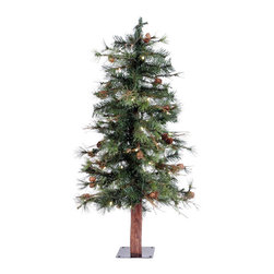 "Vickerman - Mix Country Tree 50WmWht LED (3' x 24"") - 3' x 24"" Mixed Country Tree , 145 PVC tips and 50 Warm White Italian LED Lights, metal stand. Utilizes energy-effiecent, durable LED technology."