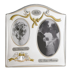 Lawrence Frames - Satin Silver and Brass Plated 2 Opening Picture Frame - 50th Anniversary Design - Satin silver plated and lacquer coated picture frame with 50th anniversary theme comes individually boxed. Includes high quality black velvet easel backing for tabletop display.