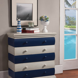 Coastal/Tropical Style - The nautical theme is evident in this three-drawer chest. Contrasting stripes in Bayano Blue and Ivory make this chest fun and lighthearted. Molding details, bun feet and painted wooden knobs keep it simple and classic. DIMENSIONS: 27.5x13x29.75 (ctc61691)