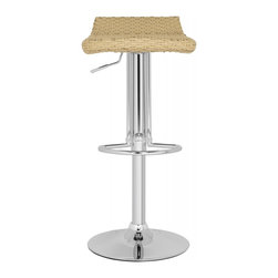 """Safavieh - Juji Barstool - Wicker Natural - Unfussy and fresh, the Juji Barstool is the epitome of contemporary style. With swivel seat that adjusts from 24"""" to 32.5"""", Constructed with chrome frame and basket weave inspired pattern in natural tone, it's portable and posh."""