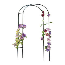 "Gardman USA - Rose Arch - ROSE ARCH - 3'3"" wide x 6'3"" high (above ground) x 19"" deep. Sturdy , black polyester powder-coated steel construction. Easily assembled - instructions included. Ground hole-maker provided for easy fitting."
