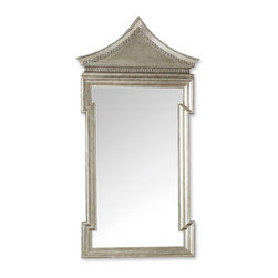 Kathy Kuo Home - Governors Palace Hollywood Regency Antique Silver Leaf Wall Mirror - Inspired by the Chinoiserie door surround in the Supper Room of the Governor's Palace in Williamsburg, Virginia, this oversized, wall-mounted opulent mirror transforms your space into a palace. Hand-applied, antique silver leaf shimmers around the frame of the beveled, clear glass mirror, reflecting an air of royalty from floor to ceiling.