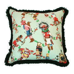 "Hermes - Pre-owned Hermes Kachina Silk Pillow with Fringe - A wonderful Paris Flea Market find - a Hermes Kachina silk fabric remnant, transformed into fabulous pillows with black eyelash fringe and green velvet back with hidden zipper & down/feather insert.     20"" x 19""    4 pillows are available. This listing is for one pillow. Please contact support@chairish.com if you are interested in more than one."