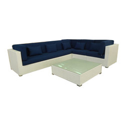 janus court designs - Olivia Outdoor Sectional, White Wicker/Blue Fabric - Olivia 5 piece Outdoor Sofa sectional (including table )
