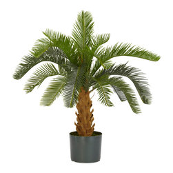 Nearly Natural - Cycas Silk Plant - Kitchy and fun, this Plastic Cycas Tree stands 28 inches high with a brown foam trunk fanning out in the traditional cut patterns. Since it's foam, you never fear touching it! 16 long leaves cascade out in an overflowing pattern while the long tapered edges provide interesting patterns to draw attention. Stands in a six inch high pot to complete the arrangement.