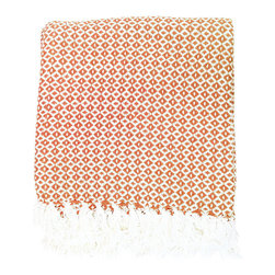 BrandWave - Diamond Dots Throw, Coral - Stay cozy with this beautiful, hand-loomed throw. Made from 100% cotton, the diamond dots throw is soft and comfortable. Don't be afraid to take this throw into any room of your home. We love it in the family room as well as sitting at the bottom of your bed.
