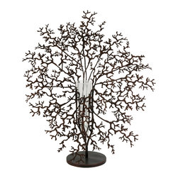 iMax - Antigua Metal Coral with Glass Vase Centerpiece - This bold conversation piece features a metal coral design and suspends a glass vase for holding your favorite elegant florals.